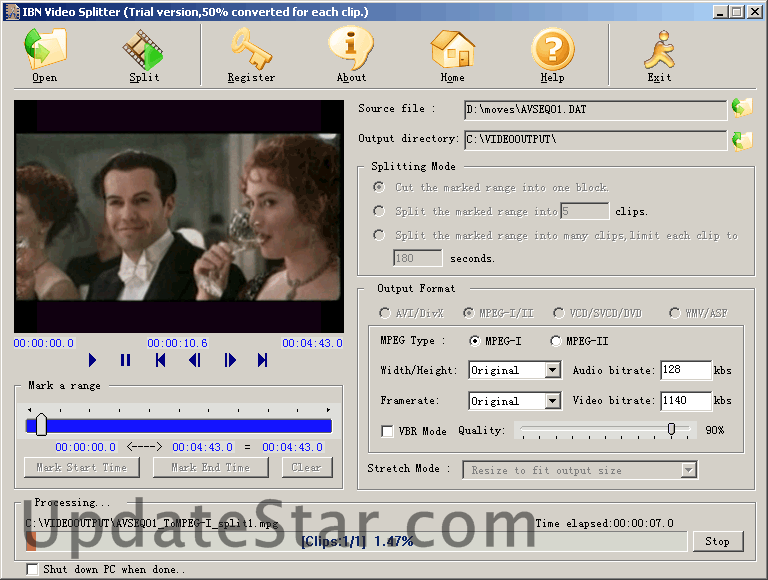 Movie clips in mpeg